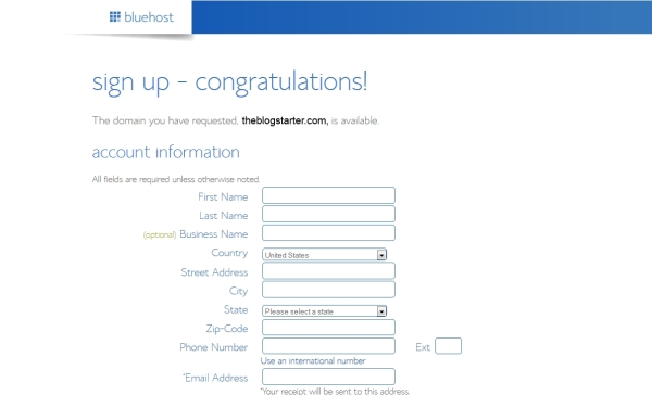 bluehost-registrierung